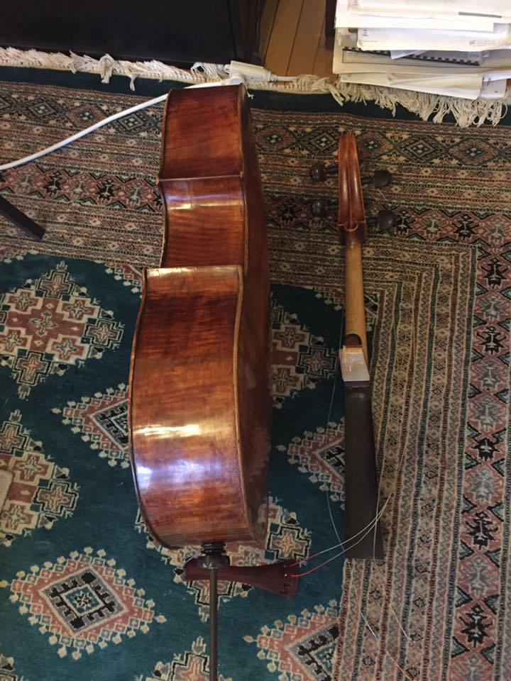 "A photo from Haimovitz's Facebook page captioned, ""And this happened to my cello today. My heart is broken."""