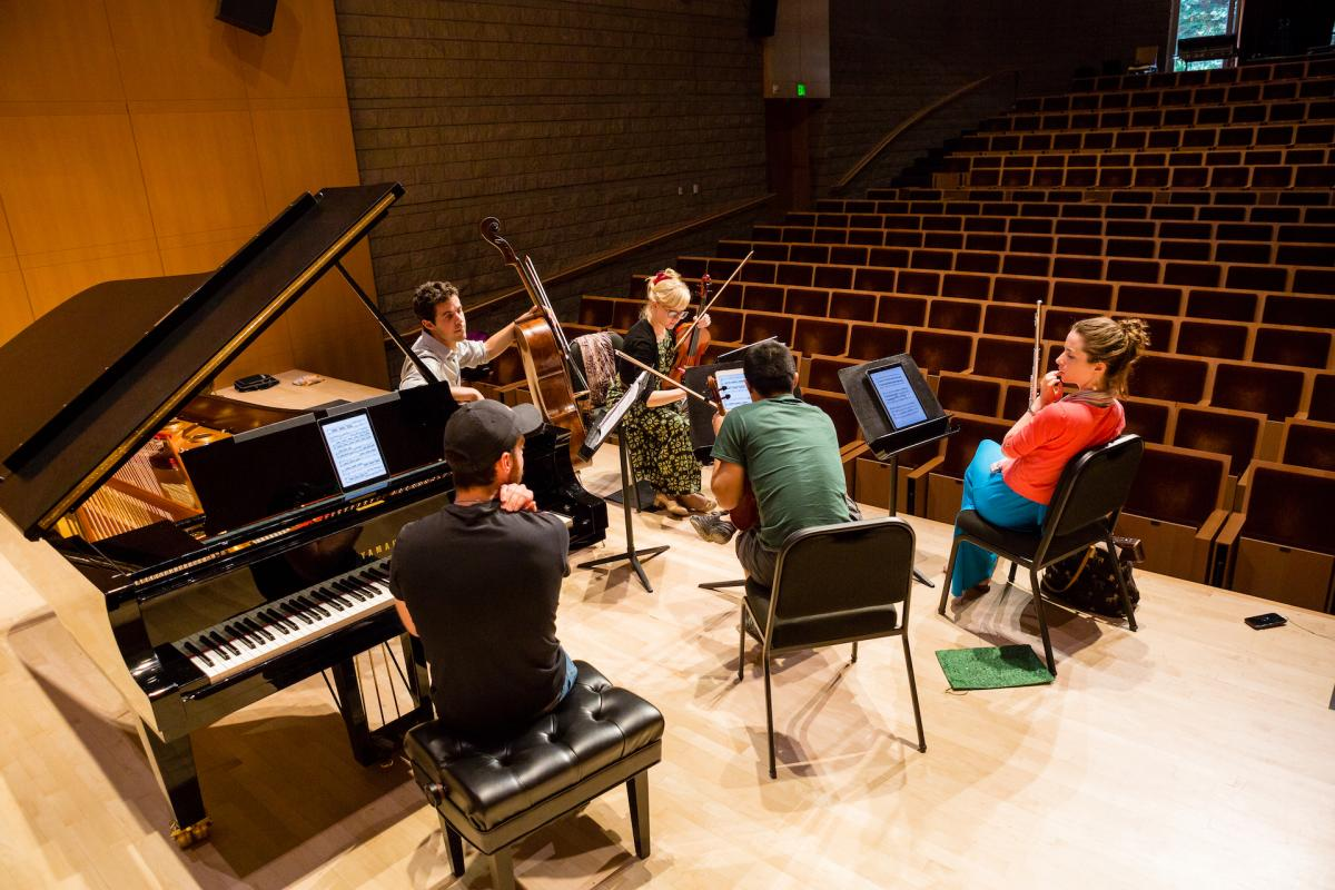 Rehearsal in SSU's Schroeder Hall