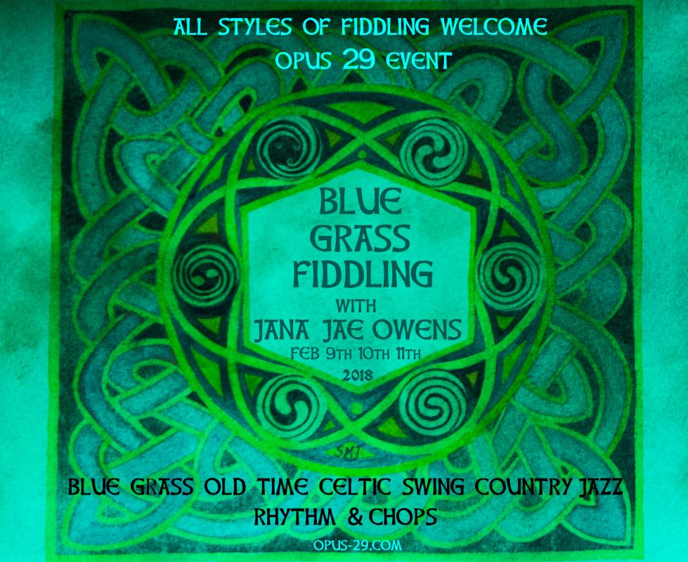 All styles of fiddling welcome - Bluegrass/Old Time/Celtic/Swing/Country/Jazz/Rhythm&Chops