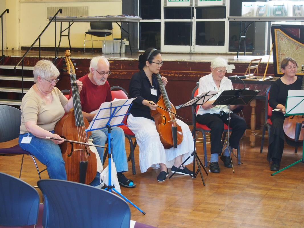 viols, voices, recorders, lutes, strings, harpsichords